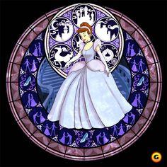 Cinderella Disney Princess of Heart Stained Glass From Kingdom Hearts Game Disney Pixar, Disney Fan Art, Disney And Dreamworks, Disney Love, Disney Magic, Walt Disney, Disney Princes, Disney Girls, Kingdom Hearts