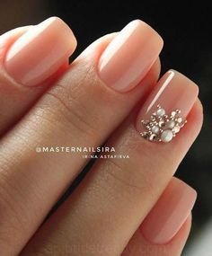 Simple Nail Designs For Long Nails. Some people may believe of beauty accessorie… Simple Nail Designs For Long Nails. Natural Wedding Nails, Simple Wedding Nails, Wedding Nails Design, Simple Nails, Natural Nails, Wedding Nails Art, Simple Elegant Nails, Bridal Nail Art, Short Nail Designs