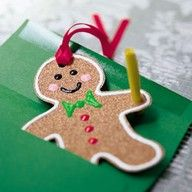 Sandpaper and puffy paint gingerbread ornaments.  Would be fun to make with the kiddos.