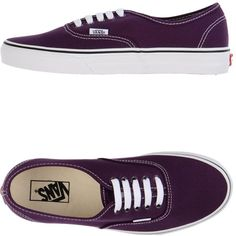 Vans Sneakers ($102) ❤ liked on Polyvore featuring shoes, sneakers, vans, dark purple, round cap, vans footwear, flat sneakers, round toe shoes and vans sneakers
