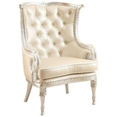 ACME 59122 Pawnee Accent Chair, Silver Frame and Beige Finish  Pawnee #Accent #Chair in modist silver Frame and beige PU Leather, featuring an elegant, sleek contemporary style and a finish, perfectly suited for any living room environment. Also featuring decorative wood frame carving and button tufted back.