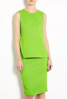 Dax Silk Lime Green Shift Dress by Sportmax