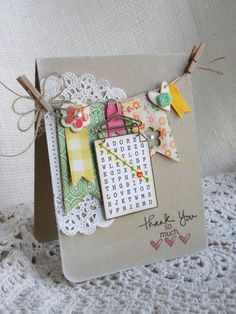 Xtra cute clothes-line card by Geri Freeman. ♥ the doily!