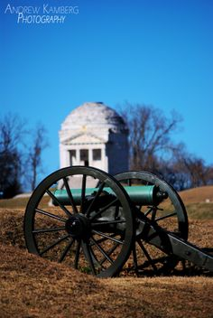 Civil War cannon with the Illinois memorial at Vicksburg National Military Park. Taken 1/19/14