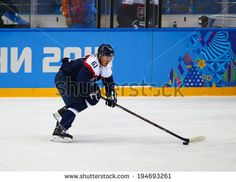 Sochi, RUSSIA - February 18, 2014: Milan BARTOVIC (SVK) on ice during Ice hockey Men's Play-offs Qualifications Game vs. Czech Republic team at the Sochi 2014 Olympic Games