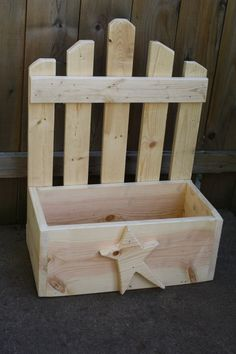 Hand-Made Primitive Wooden Picket Fence PLANTER Box Wood Douglas Fir Custom…