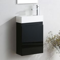 Wall hung bathroom basin sink cabinet vanity unit with a professional high gloss finish. Cloakroom Vanity Unit, Black Vanity Bathroom, Basin Sink Bathroom, Vanity Units, Storage Spaces, Resin, The Unit, Free Delivery, Wall