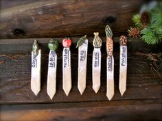 These are TOO cute! They make me want to do a veggie garden!!!    garden markers handmade pottery vegetable by MudGoblin on Etsy, $5.00