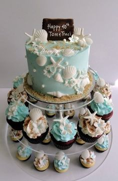 Beach Modern Blue Ivory Cupcakes Summer Wedding Cakes Photos & Pictures - WeddingWire.com