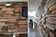 Reclaimed wood wall effects. Slowpoke Espresso Cafe by Anne-Sophie Poirier, Fitzroy, Australia Flur Design, 3d Design, Wall Design, House Design, Creative Design, Design Ideas, Coffee Shops, Coffee Cafe, Into The Woods