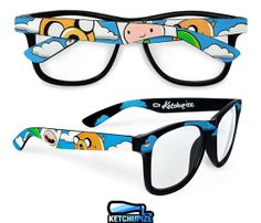 Adventure Time glasses unique hand painted Finn and by ketchupize