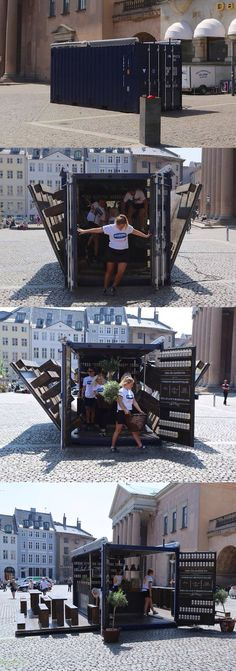 Container restaurant in Denmark. The beauty and portability of a true pop-up restaurant! PopUp Republic www. Container Bar, Container Design, Container Coffee Shop, Container Van House, Container Architecture, Container Buildings, Restaurant Bar, Restaurant Design, Casas Containers