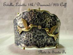 "Santa Fe Royalty  ""ESTELLA LORETTO"" 18K/Diamond/925 ""Hummingbird Blessings""Cuff"