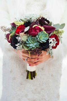"""Winter Wedding Bouquet: Deep Red Peonies, Red Roses, Plum Red Calla Lilies, """"Black"""" Roses, Several Varieties Of Succulent, Green Seeded Eucalyptus, Lace Leaf Dusty Miller"""