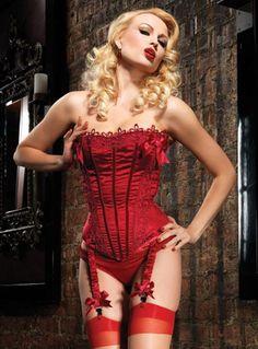 Leg Avenue Burlesque Lingerie Ruby Corset with Striped Satin Silhouette fca298831