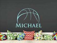 Basketball Name Wall Decal Boy Custom Personalized Boys Name Decor Vinyl Decal Basketball Kids Teens Boys Room Sports Wall Decal Nursery T74