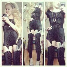 Burned Velvet Bodysuit and Suspenders by Black Milk Clothing