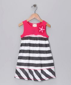 Take a look at this Pink, White & Gray Stripe Dress - Toddler  by Pink Vanilla on #zulily today!