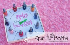 Spin the Nail Polish Bottle Party Game for Little Girls {OneCreativeMommy.com} Includes free Silouette and pdf files for spinner #partygames #unslumberparty Sleepover Birthday Parties, Sleepover Games, Birthday Games, Sleepover Crafts, 10th Birthday, Cool Sleepover Ideas, Slumber Party Activities, Birthday Diy, Things To Do At A Sleepover