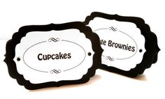 LABELS & TAGS:  Black and White FREE STANDING Candy Station Place Cards - Set of 9 for $13.50