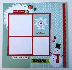 Six Christmas 12x12 Scrapbook Pages Kit or Premade Pre-Cut with Instructions