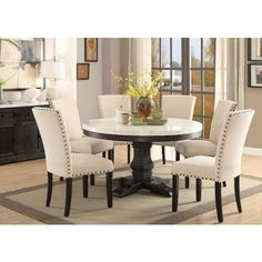 Shop Acme Furniture Nolan Round Dining Room Set with great price, The Classy Home Furniture has the best selection of Dining Room Complete Sets to choose from Acme Furniture, Dining Room Furniture, Dining Room Table, Table And Chairs, Dining Chairs, Oak Table, Room Chairs, Rattan Chairs, Furniture Movers