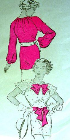 Elegant 1930's blouse with flutter or long sleeves and slashed neckline ~ Vintage New York Sewing Pattern 168