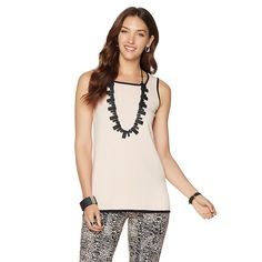 MarlaWynne Contrast Piped Tank Top - Shell Pink/Black