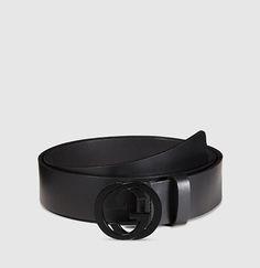 leather belt with interlocking G buckle