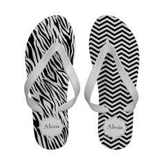 #Chevron, #zebra, #black #white and #grey #frame #sandals. #flipflops See more #gifts here http://www.zazzle.com/zazzleproducts1?rf=238228936251904937=zBookmarklet