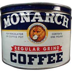 Vintage Monarch Coffee Tin - 1# Key Wind - Reid Murdoch Co
