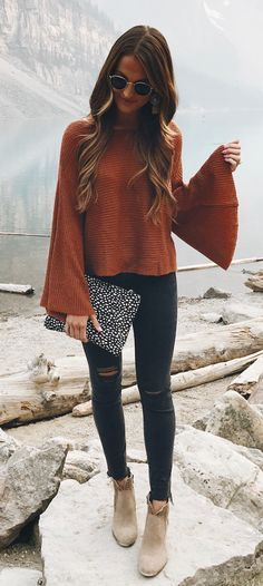 #fall #outfits women's brown ribbed tops an d grey jeans and grey suede booties outfit