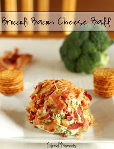 Broccoli Bacon Cheese Ball  carmelmoments.com