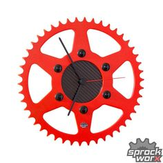 Red wall clock modern clock unique wall clock unique by SprockWorx Bicycle Parts Art, Recycled Bike Parts, Bike Art, Clock Craft, Clock Decor, Unusual Clocks, Unique Wall Clocks, Stainless Steel Bolts, Black Stainless Steel