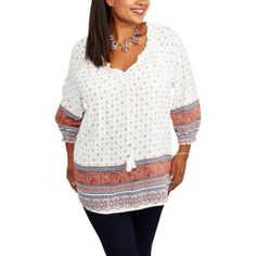 6a78f417e6d02 Faded Glory - Women s Plus-Size 3 4 Sleeve Woven Peasant Top with Smocking  - Walmart.com
