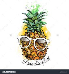 Pineapple Fruit In A Glasses. Vector Illustration. - 430031788 : Shutterstock