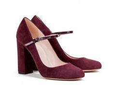"""The """"Jarilla"""" block heel Mary Janes in burgundy suede, featuring signature Pura López ultra-smooth nude leather."""