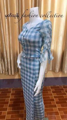 Traditional Dresses Designs, Traditional Outfits, Batik Fashion, Ethnic Fashion, Designer Anarkali Dresses, Designer Dresses, Myanmar Dress Design, Myanmar Traditional Dress, Sleeves Designs For Dresses