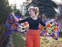 Nuno felted scarf, long purple and gray silk shawl with decorative floral motif . Nuno Felt Scarf, Felted Scarf, Accessorize Scarves, Silk Shawl, Nuno Felting, Winter Accessories, Ursula, Floral Motif, Lovely Things
