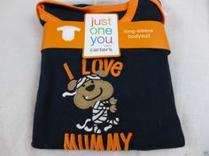 Infant Halloween Carters One Piece Long Sleeve I Love My Mummy 6 Months New #Carters #TopShirt