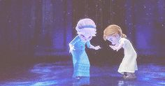 Little Anna and Elsa in their winter wonderland in the Great Hall: are they going to ice skate?