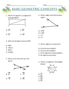 This FREE 2 page worksheet includes 6 multiple choice questions and 1 extended response question. Skills assessed are naming angles, line segments and r...