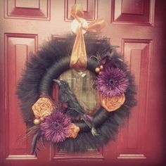 Halloween Tutu Wreath made by Becky Davino of Little Red Wagon Creations.  https://www.facebook.com/MemoryNeverEndingShop