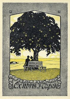 ex libris | bookplate of J. Capek | Artist: J.W.; U.V. Description: States, 'J. Capek;' features a landscape with a fruit tree, benches, seated man and woman, and a house or other building in the background. Signed in upper left and right corners 'J' and 'W,' respectively; signed in lower right, 'U.V.' Format: 1 print, hand col., 11 x 8 cm. Source: Pratt Institute Libraries, Special Collections 168 (sc00101) Pratt Libraries Website Pratt Libraries Website For inquiries r...