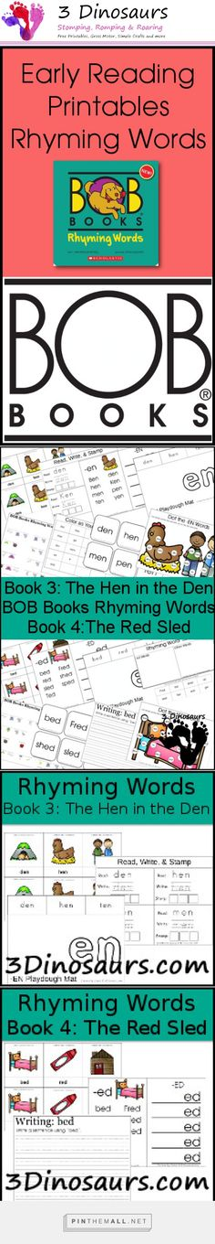 Early Reading Printables: BOB Books Rhyming Words Books 3 & 4 | Bob Books: Rhyming Words is about rhyming words within one word family. These work well with the books or without the books. This book set goes great after BOB Books Set 1. You are going to find: 3 Part Cards, Read, Write & Stamp, Word Family Wall card & Word Family Ladder, Playdough Mat, Sorting Words, Making Words, Color as you Read, Cube Flash Cards, Writing Sentences, Dot the Word Family Words, Word Family Word Path - ...