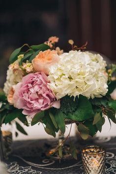 Pedestal of white hydrangea. Prony, garden rose, stock  Blush Custom Weddings