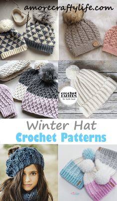 Looking for some cozy winter hat crochet patterns? I have gathered a vary of different patterns available from toddler to adult. Crochet Winter Hats, Crochet Beanie, Knitted Hats, Crochet Hats, Slouch Hats, Crochet Headbands, Beanie Hats, Crochet Blanket Patterns, Crochet Stitches