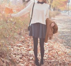 Little Monster | via Tumblr - fashion - style autumn - cozy sweater - dots - leafs