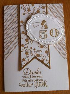 Gratulations-Doppel Karte. Goldene Hochzeit. Geburtstag. Stampin Up in Möbel & Wohnen, Hobby & Künstlerbedarf, Basteln | eBay