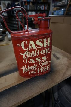 """Hand painted Garage Art """"Cash Grass or..."""" vintage gas can"""